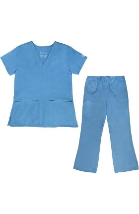 Vestex® Signature Stretch Women's V-Neck 2 Pocket Solid Scrub Top & Women's Flare Leg Cargo Scrub Pant Set