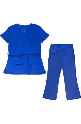 Vestex® Signature Stretch Women's Mock Wrap Solid Scrub Top & Women's Flare Leg Cargo Scrub Pant Set