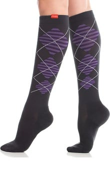 VIM & VIGR Women's 15-20 mmHg Compression Wool Argyle Print Sock- Wide Calf