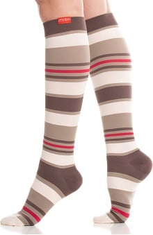VIM & VIGR Women's 15-20 mmHg Compression Nylon Stripe Print Sock
