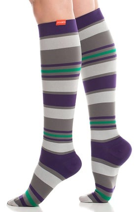 VIM & VIGR Women's 15-20 mmHg Compression Nylon Stripe Print Sock - Wide Calf