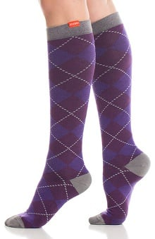 VIM & VIGR Women's 15-20 mmHg Compression Cotton Argyle Print Sock - Wide Calf