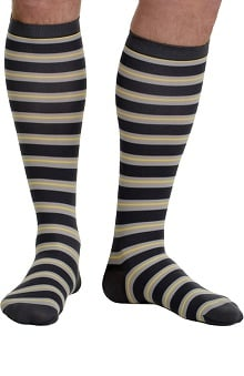 VIM & VIGR Men's 15-20 mmHg Compression Nylon Stripe Print Sock