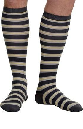 VIM & VIGR Men's 15-20 mmHg Compression Nylon Stripe Print Sock