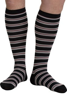 VIM & VIGR Men's 15-20 mmHg Compression Nylon Stripe Print Sock - Wide Calf