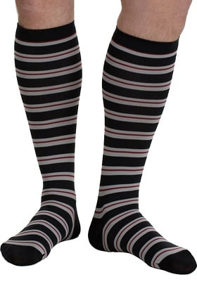 VIM & VIGR Men's 15-20 mmHg Compression Nylon Stripe Print Sock - Wide Calf