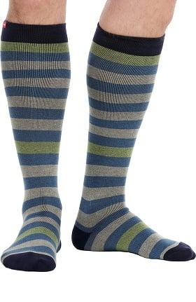 VIM & VIGR Men's 15-20 mmHg Compression Cotton Stripe Print Sock