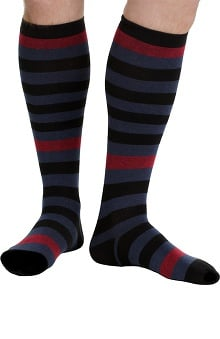VIM & VIGR Men's 15-20 mmHg Compression Cotton Stripe Print Sock - Wide Calf