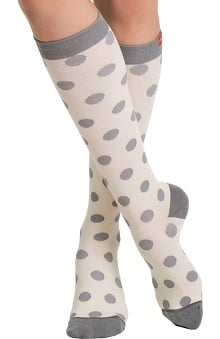 VIM & VIGR Women's 15-20 mmHg Compression Cotton Dot Print Sock - Wide Calf