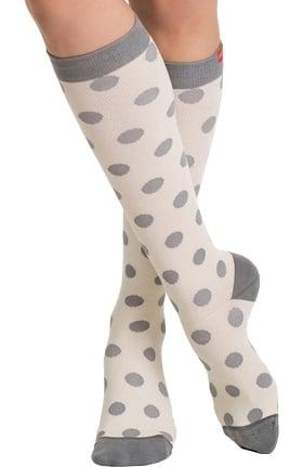 VIM & VIGR Women's 15-20 mmHg Compression Cotton Dot Print Sock - Wide Calf