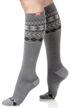 VIM & VIGR Women's 15-20 mmHg Compression Wool Geometric Print Sock - Wide Calf