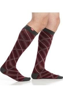 VIM & VIGR Men's 15-20 mmHg Compression Cotton Plaid Print Sock