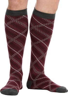 VIM & VIGR Men's 15-20 mmHg Compression Cotton Plaid Print Sock - Wide Calf