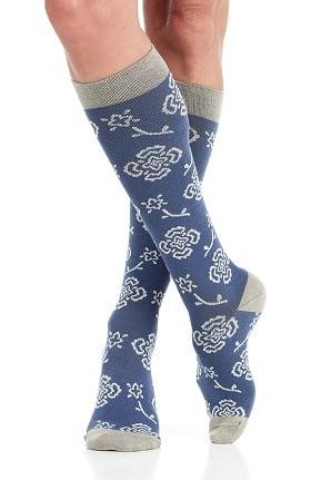 VIM & VIGR Women's 15-20 mmHg Compression Cotton Floral Print Sock