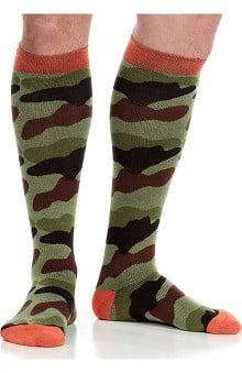 VIM & VIGR Men's 15-20 mmHg Compression Cotton Camo Print Sock - Wide Calf