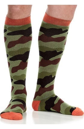 VIM & VIGR Men's 15-20 mmHg Compression Cotton Camo Print Sock - Wide Calf