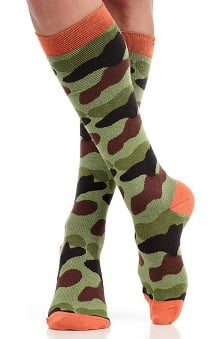 VIM & VIGR Women's 15-20 mmHg Compression Cotton Camo Print Sock - Wide Calf