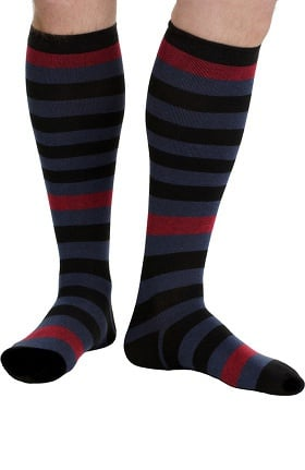 VIM & VIGR Men's 20-30 mmHg Compression Nylon Stripe Print Sock - Wide Calf