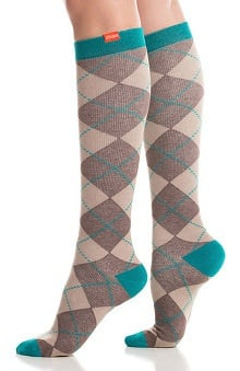 VIM & VIGR Women's 20-30 mmHg Compression Cotton Argyle Print Sock - Wide Calf