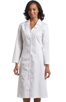 White Cross Women's Long Sleeve Embroidered Collar Scrub Dress