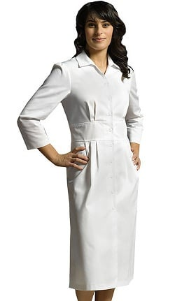 White Cross Women's 3/4 Sleeve Button Front Scrub Dress