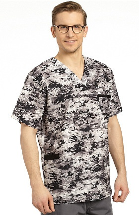 Clearance White Cross Men's V-neck Abstract Print Scrub Top