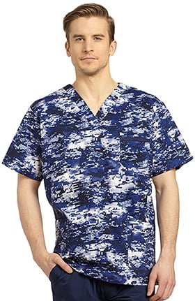 White Cross Men's V-neck Abstract Print Scrub Top
