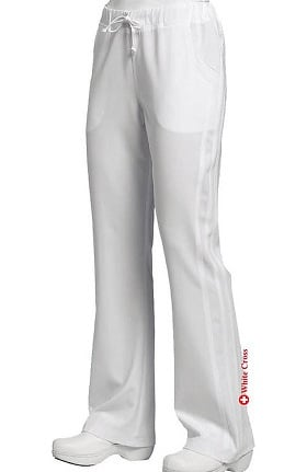 Marvella by White Cross Women's Flare Yoga Drawstring Solid Scrub Pant