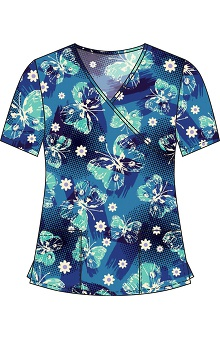 Clearance 321 Scrubs by White Cross Women's Crossover Mock Wrap Delight Blue Butterfly Print Top