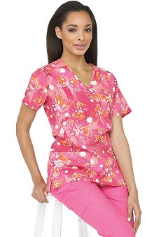 Clearance 321 Scrubs by White Cross Women's Crossover Mock Wrap Delight Pink Butterfly Print Top