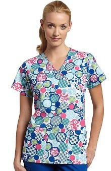 Clearance 321 Scrubs by White Cross Women's Crossover Mock Wrap Rings of Delight Print Top