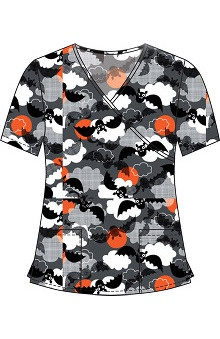 Clearance 321 Scrubs by White Cross Women's Crossover Mock Wrap Halloween Print Scrub Top