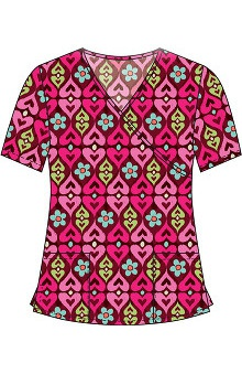 Clearance 321 Scrubs by White Cross Women's Crossover Mock Wrap Ikat Print Scrub Top