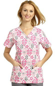 Clearance 321 Scrubs by White Cross Women's Crossover Mock Wrap Ikat Amore Pink Print Top