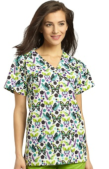 White Cross Women's Crossover Mock Wrap Butterfly Print Scrub Top