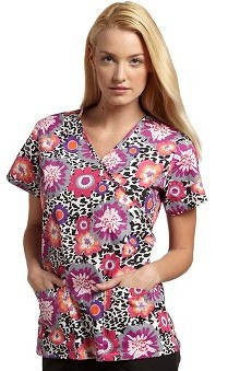 Clearance 321 Scrubs by White Cross Women's Crossover Mock Wrap Safari in Bloom Print Top