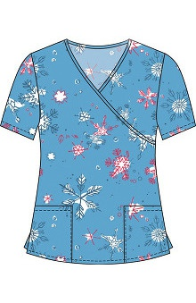 Clearance 321 Scrubs by White Cross Women's Crossover Mock Wrap Winter Print Scrub Top