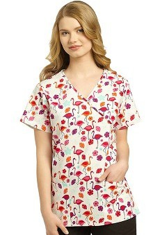 Clearance 321 Scrubs by White Cross Women's Crossover Mock Wrap Flamingo Tango Print Top