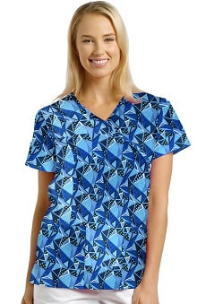 Clearance 321 Scrubs by White Cross Women's Crossover Mock Wrap Trapezoid Print Top
