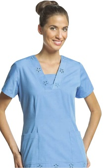 Scrubs: White Cross Women's Embroidered V-Neck Solid Scrub Top