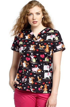 Clearance White Cross Women's V-Neck Pet Print Scrub Top
