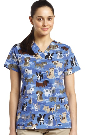 Clearance White Cross Women's V-Neck Pets Print Scrub Top