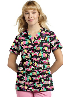321 Scrubs By White Cross Women's V-Neck Dog Print Scrub Top