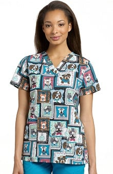 Clearance White Cross Women's V-Neck Family Of Furry Friends Print Top