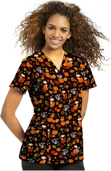 Clearance White Cross Women's V-Neck Autumn Print Scrub Top