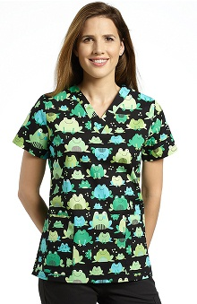 321 Scrubs by White Cross Women's V-Neck Frog Print Scrub Top