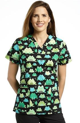 Clearance 321 Scrubs by White Cross Women's V-Neck Frog Print Scrub Top