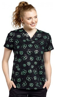 White Cross Women's V-Neck Clover Print Scrub Top