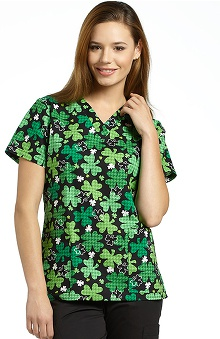 321 Scrubs by White Cross Women's V-Neck Shamrock Print Scrub Top