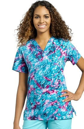 White Cross Women's V-Neck Abstract Print Scrub Top